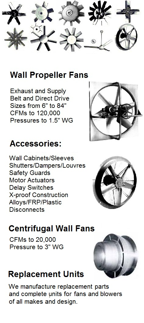 Wall fans - Stock of heavy-duty industrial oven exhauste fans, New York Blower pressure blowers, high temperature oven circulating fans and furnace blowers, combustion pressure blowers, exhaust and supply roof fans and wall ventilators, pneumatic conveying pressure blowers, vacuum blowers and fans, high temperature exhauste fans, heat ventilators and scroll cage blower fans http://www.canadablower.com/ebook/Tab%208.html